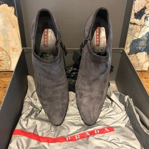 PRADA Suede Ankle Boots ~ Gray ~ Size 40/9